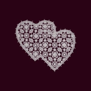 Pag lace 2 hearts 11 by 13cm