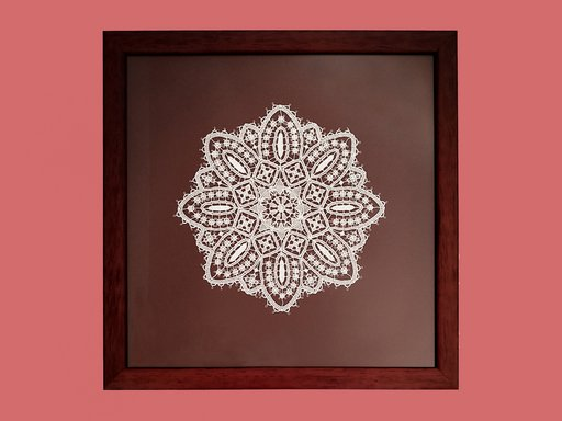 Pag lace circular 24cm in a dark red wood frame