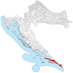 Map of Ragusa Republic in Croatia