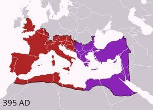 Map of eastern and western Roman Empire