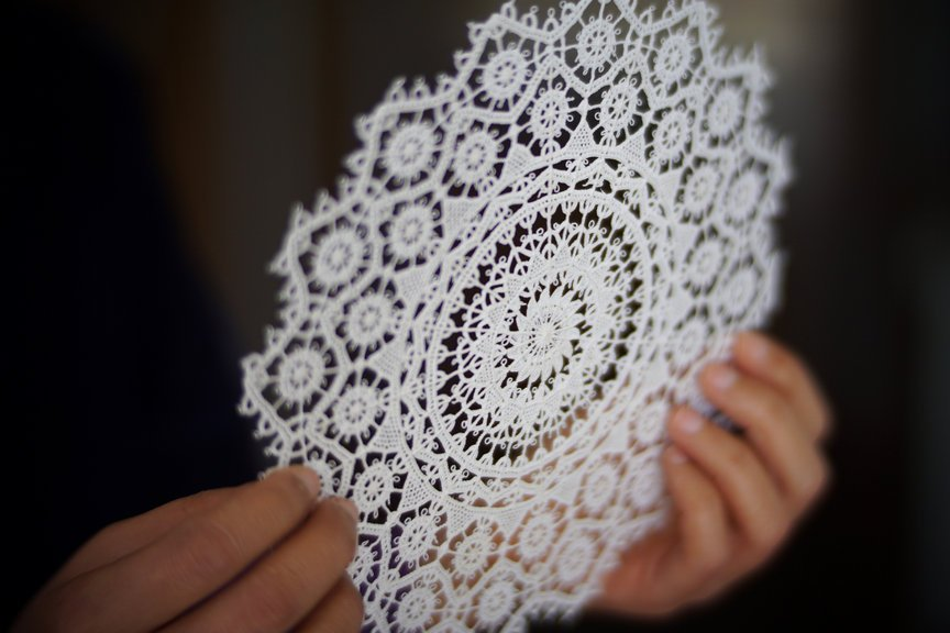 Hands holding a lace from Pag